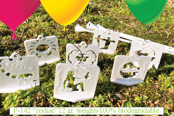 """12 gr. """"zodiac"""" weights for balloons 100% BIODEGRADABLE"""